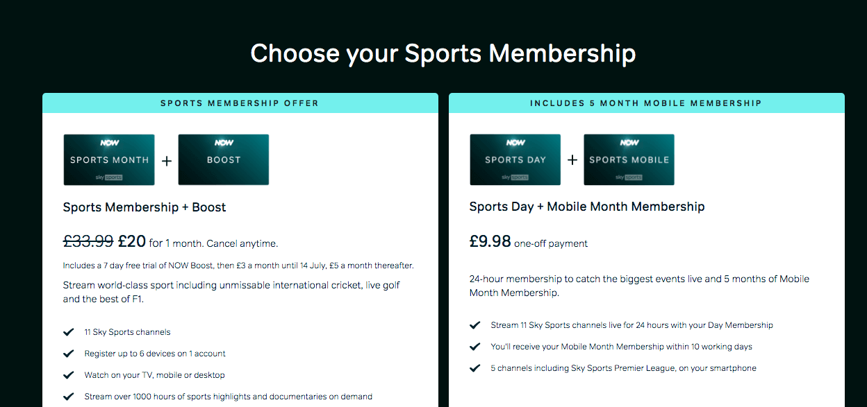 SkySports Subscription Package via Now TV