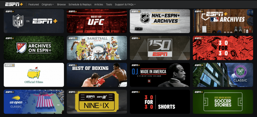 Live Sports and Shows available on ESPN Plus