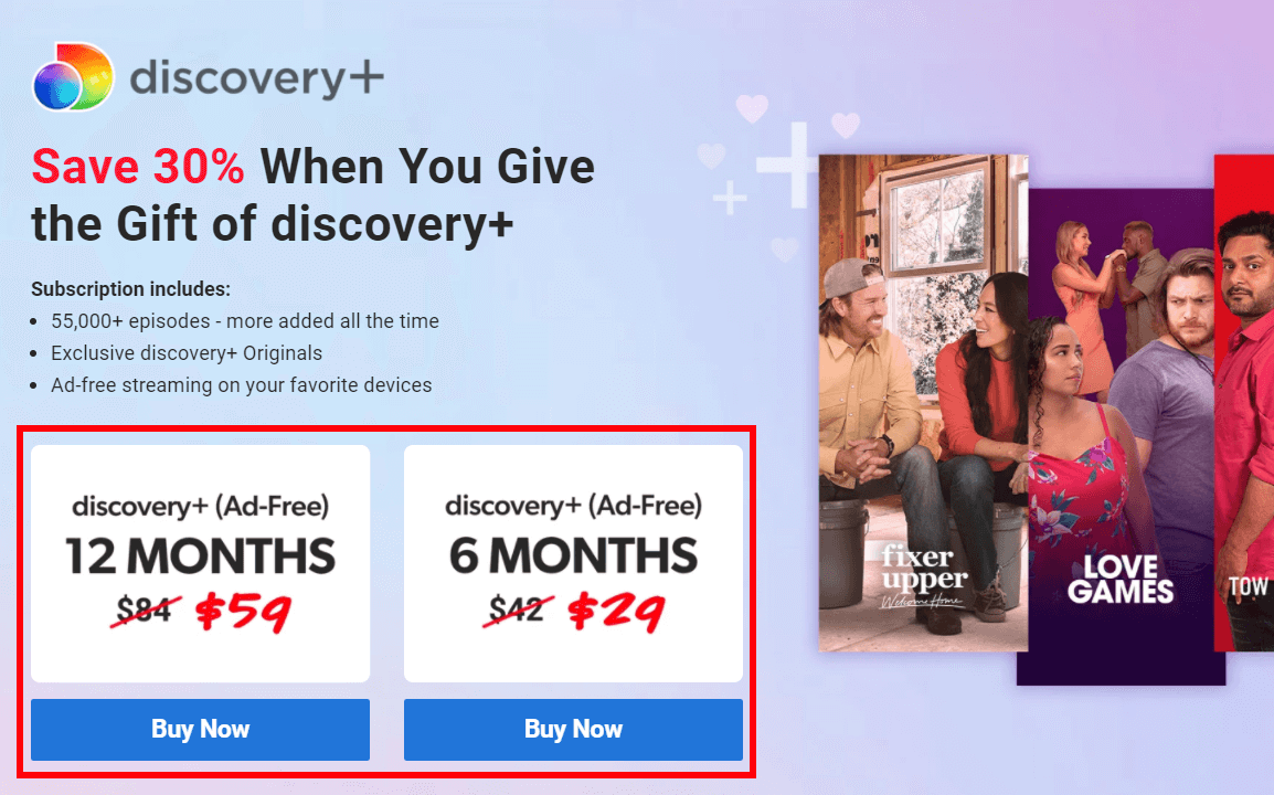 Get Discovery Plus Gift Card