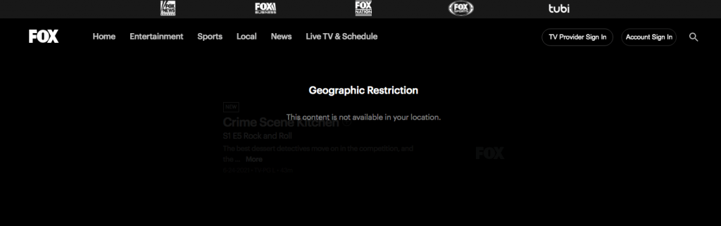 Fox TV geo-location error while trying to access in Canada without a VPN