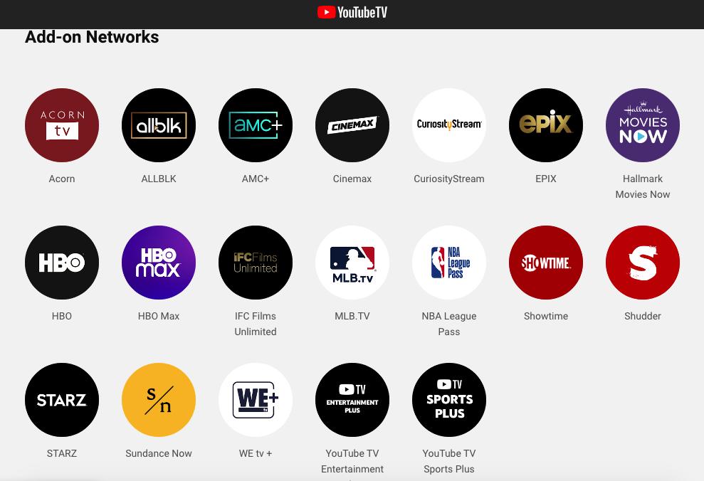 YouTube TV add on Channels