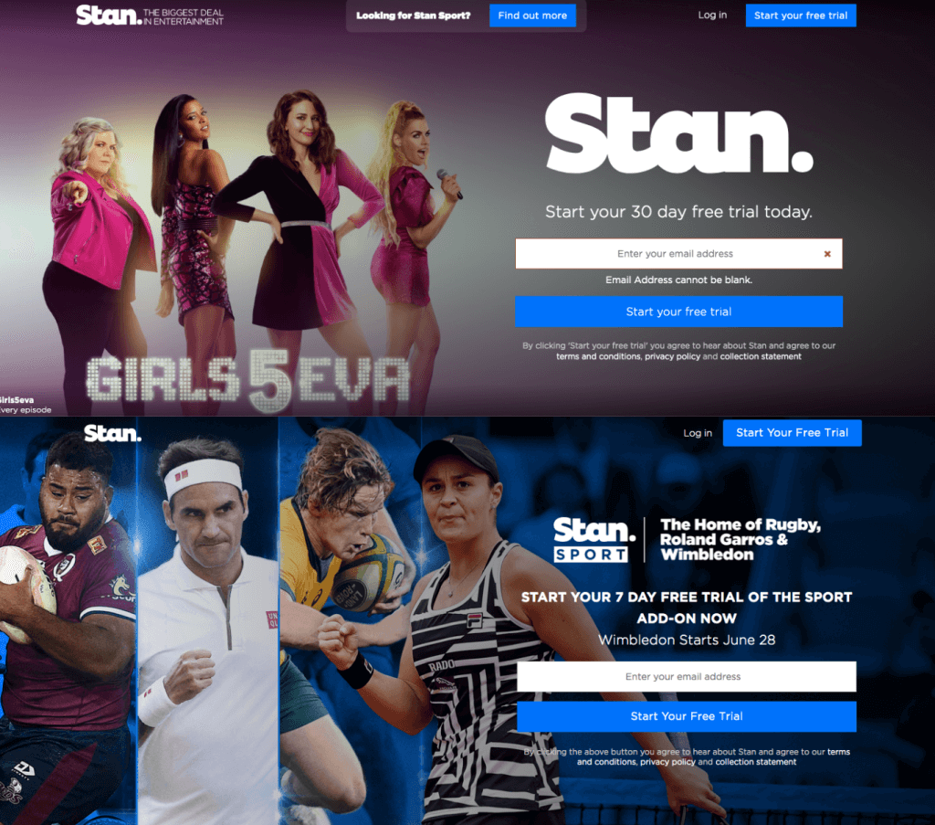 Watch Stan and Stan Sport in Canada