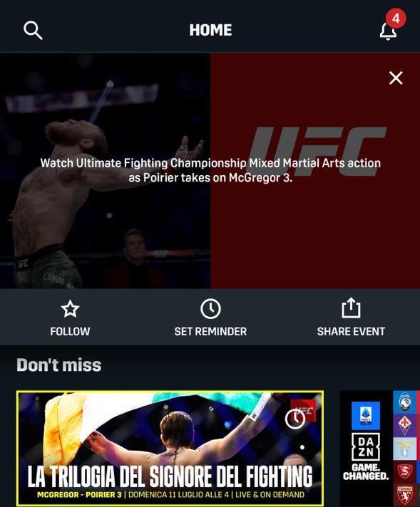 Watching UFC 264 McGregor vs Poirier 3 on DAZN Italy in Canada via VPN