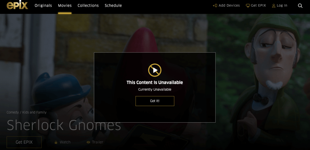 EPIX NOW geo-location error while streaming in Canada without VPN