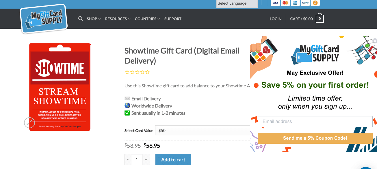 How to get Showtime in Canada using gift card