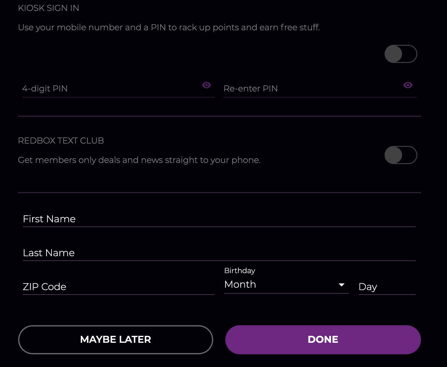 select maybe later option