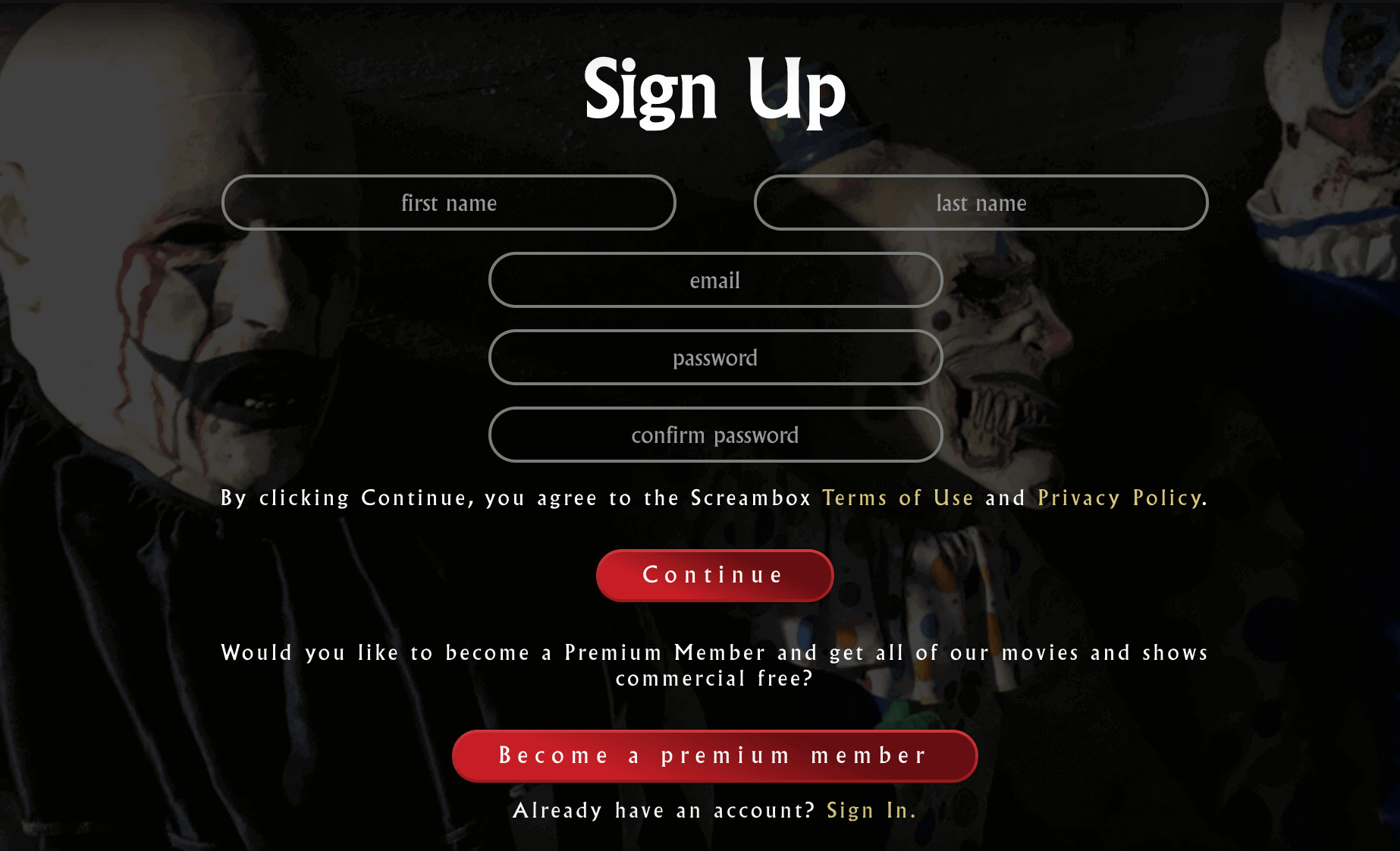 enter all the required details and click continue to get Screambox subscription