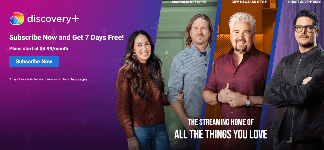 head to discovery plus canada website
