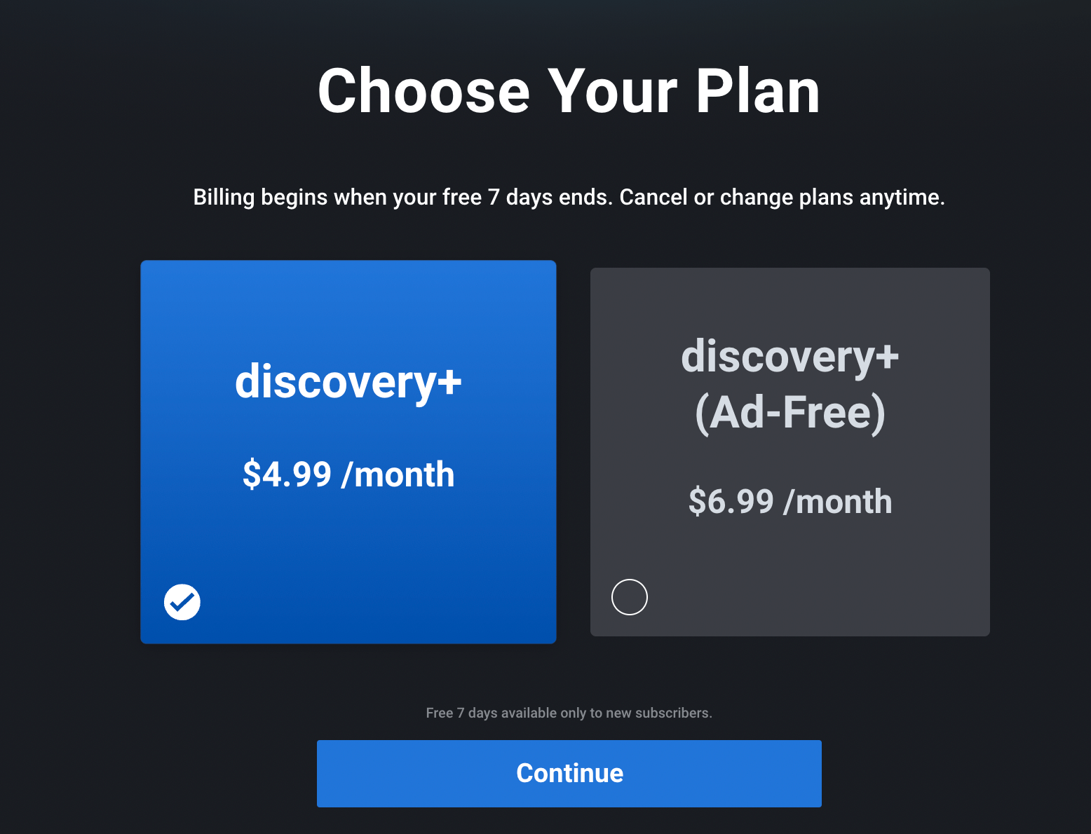 choose your discovery plus plan