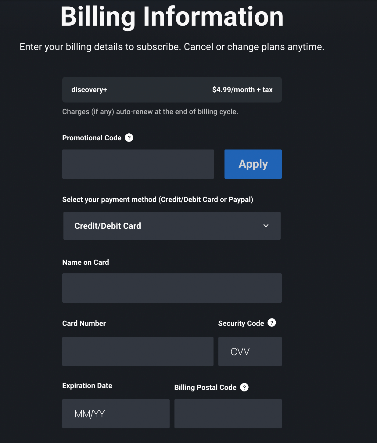 enter all the details to create discovery plus account