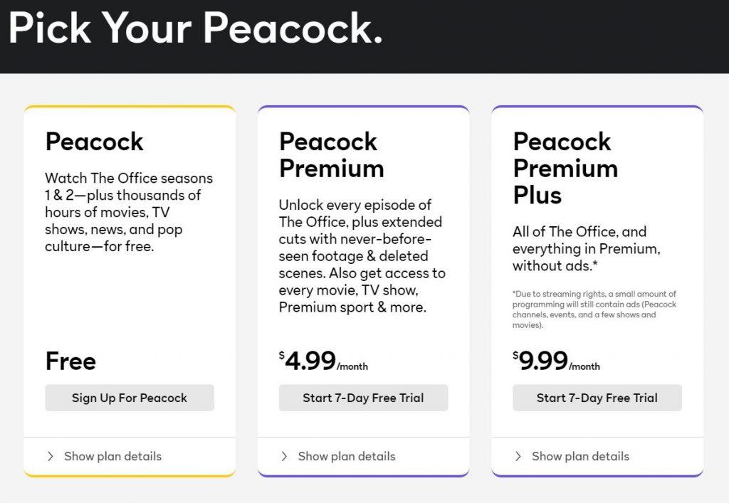 Peacock TV price plan